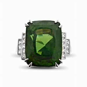 Green Zircon & French Cut Diamond Dress Ring